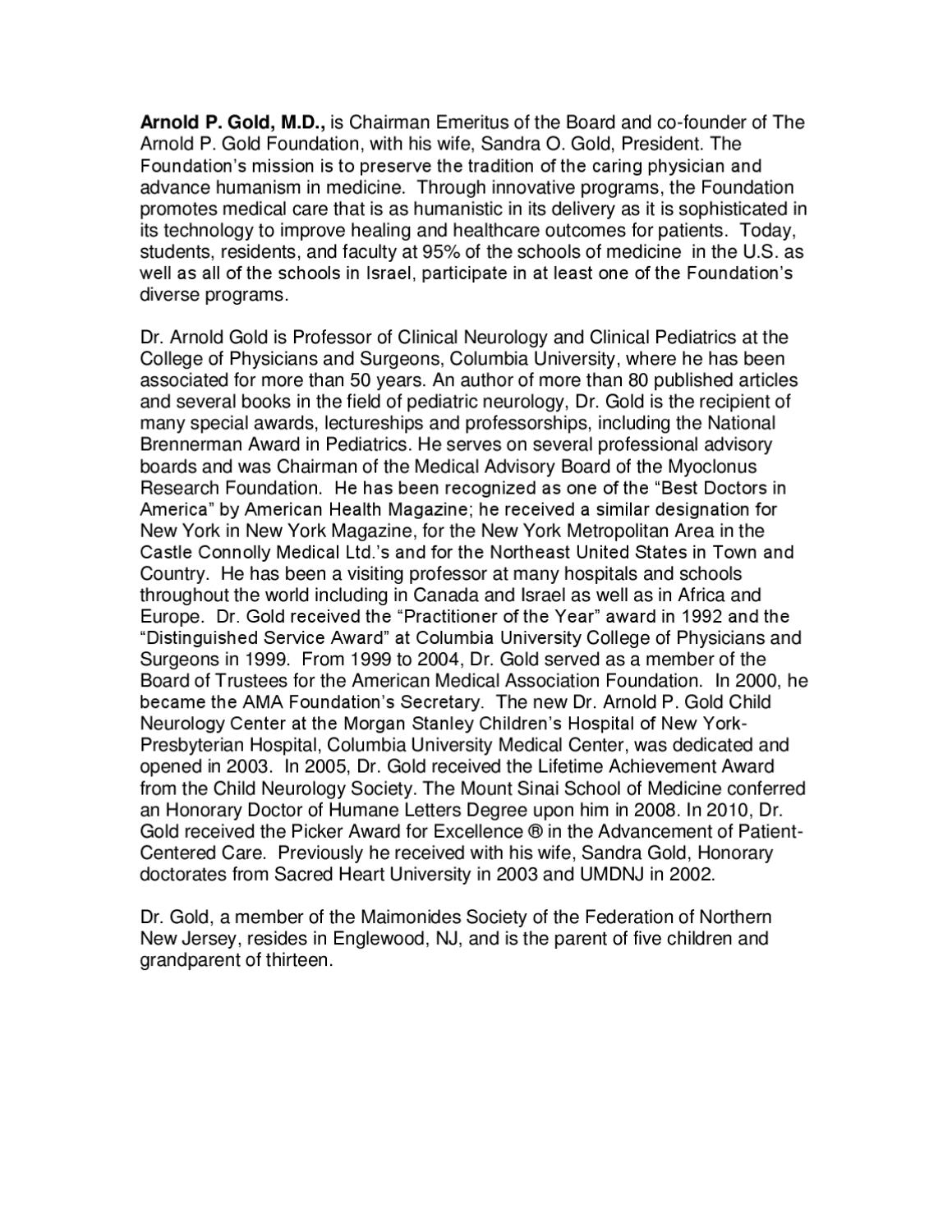 arnold gold foundation essay The gold humanism honor society • recipients of the arnold p gold foundation's humanism and excellence in recommendation and essay on humanism in.