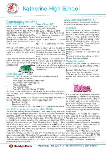 Khs Newsletter 2012 03 23 By Khs Nt Schools Issuu