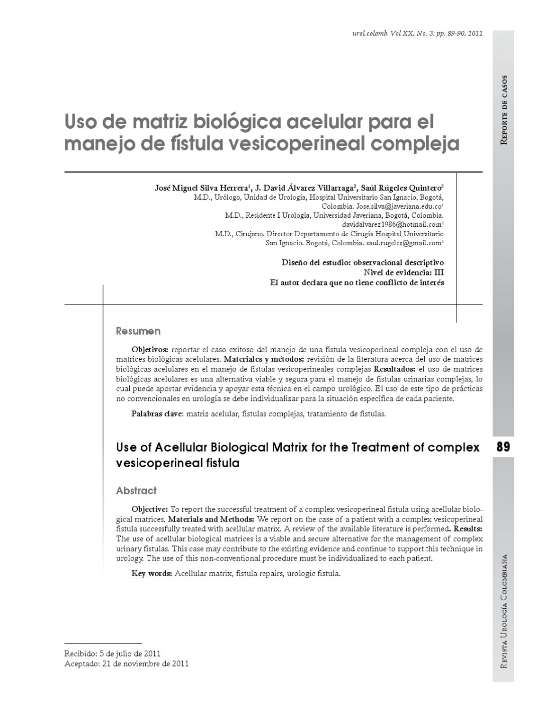 Uso de matriz biológica acelular para el manejo de fístula ...