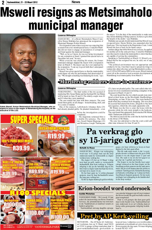 vaal weekblad 19- 23 maart 2012 by vaalweekblad