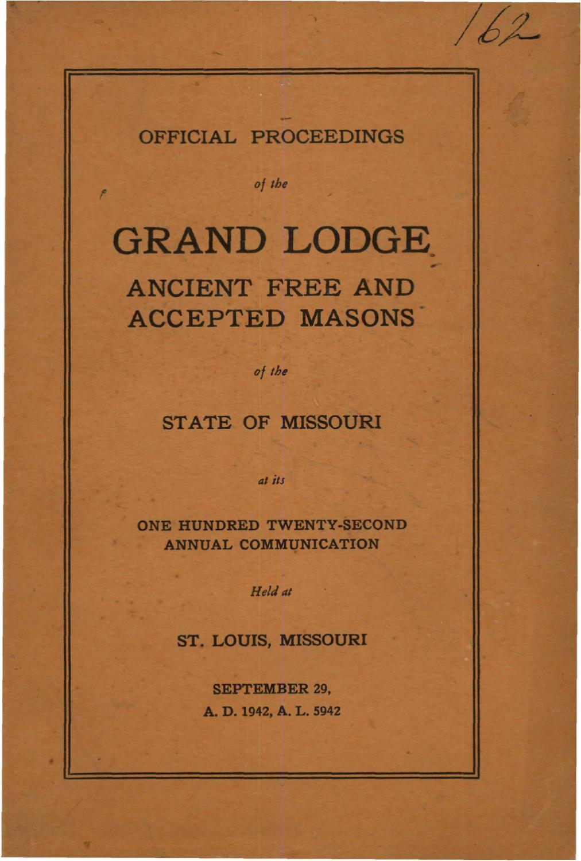 1942 Proceedings - Grand Lodge of Missouri by Missouri