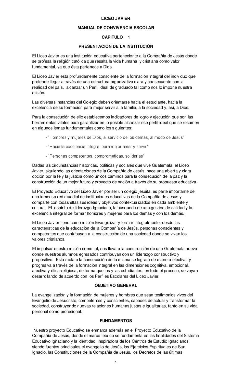 MANUAL DE CONVIVENCIA ESCOLAR by Liceo Javier - issuu