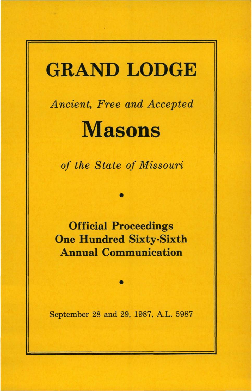 09c3fa15fd 1987 Proceedings - Grand Lodge of Missouri by Missouri Freemasons - issuu