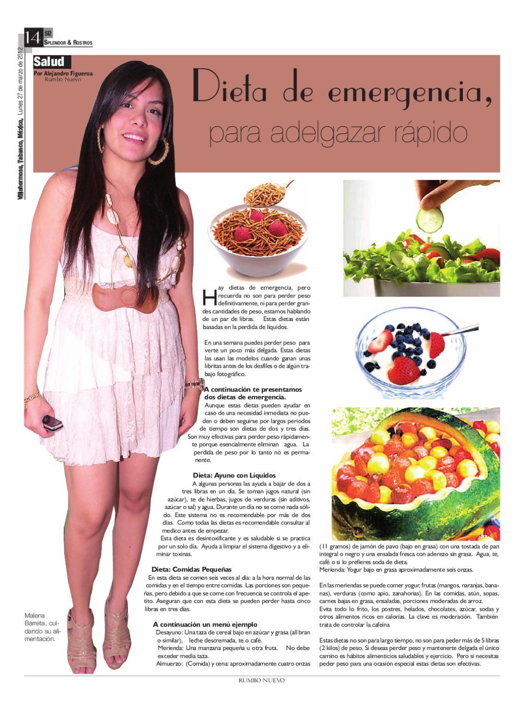 dieta de emergencia para bajar de peso en una semana