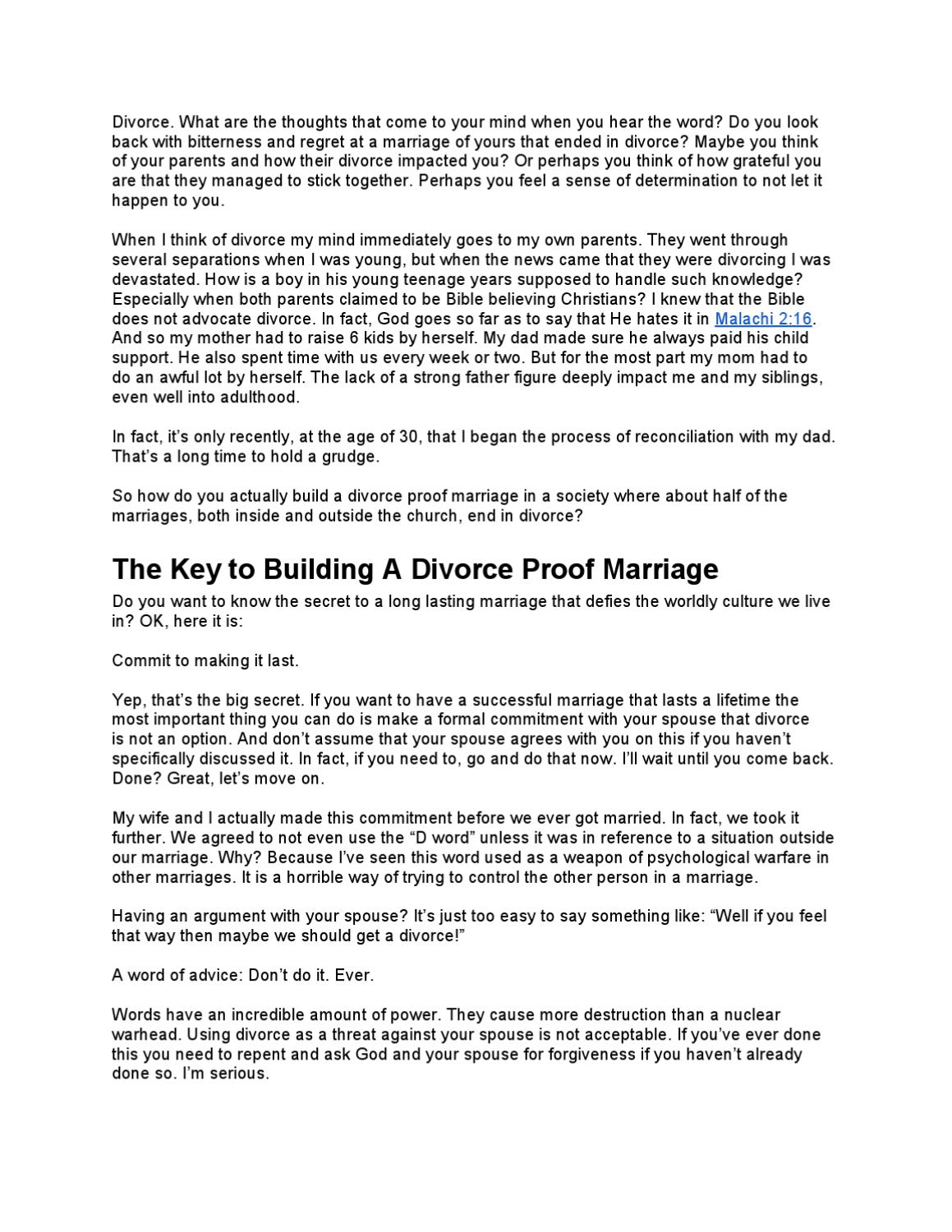 How to Build a Divorce Proof Marriage by Daniel Robertson