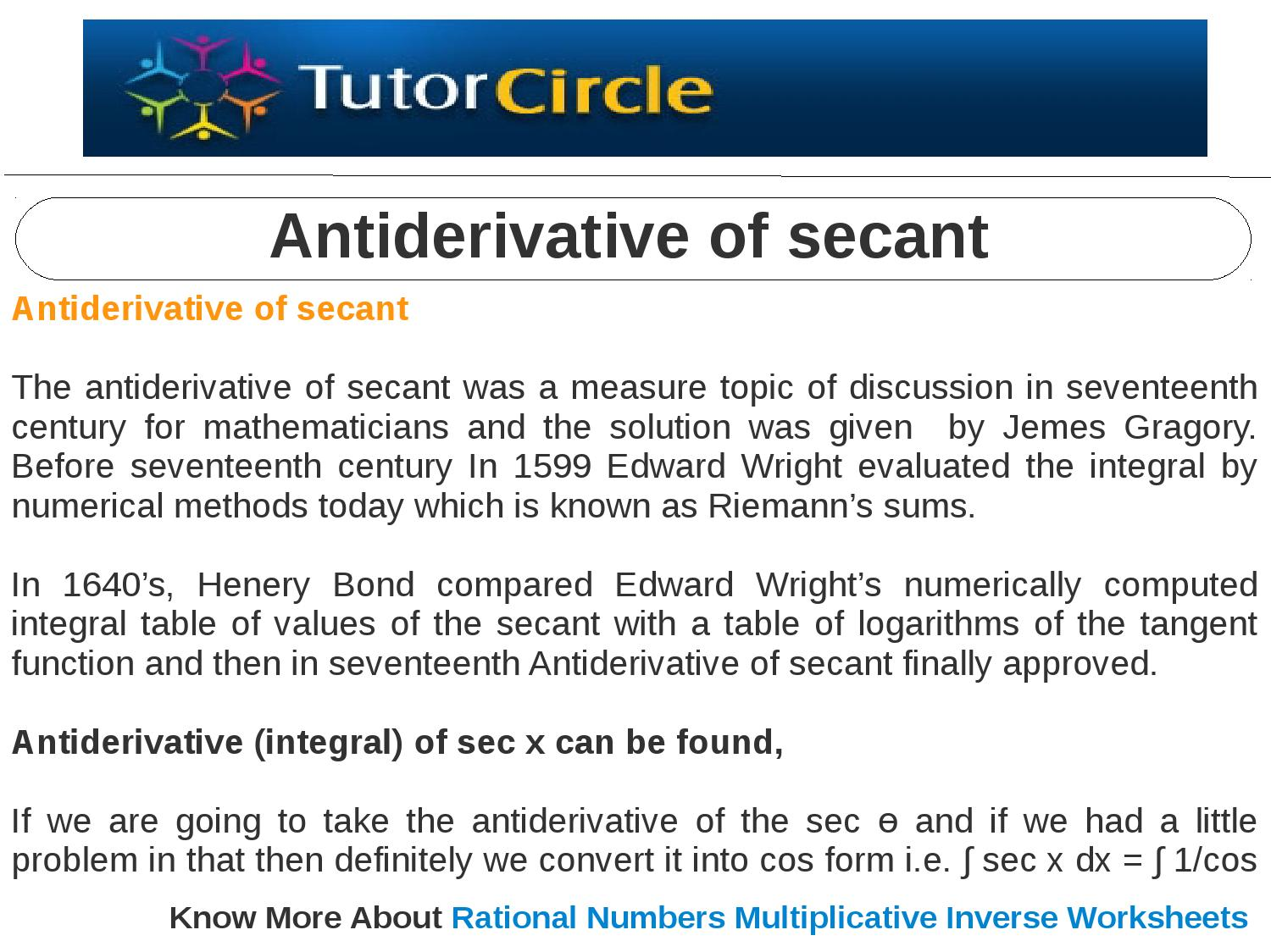 Antiderivative of secant by tutorcircle team issuu – Antiderivative Worksheet