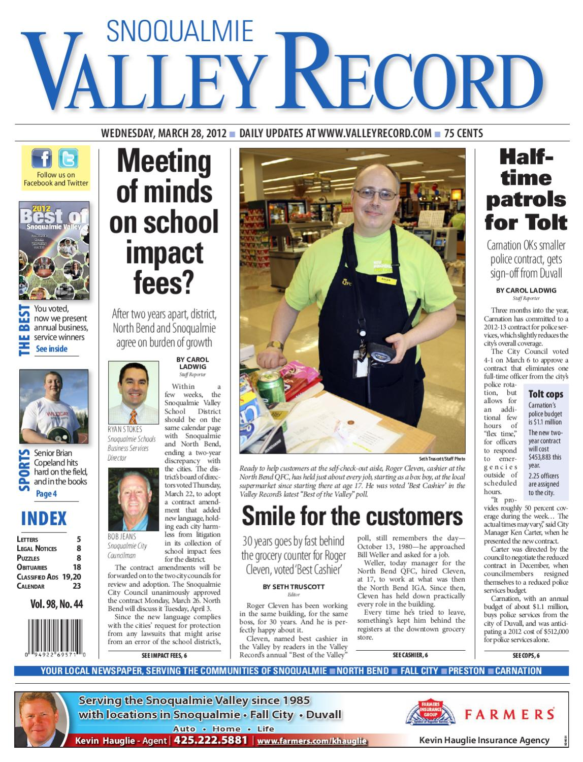 Snoqualmie Valley Record, March 28, 2012 by Sound Publishing - issuu