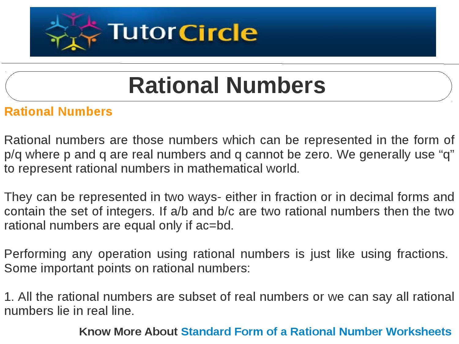 Rational numbers by tutorcircle team issuu aequipe Gallery