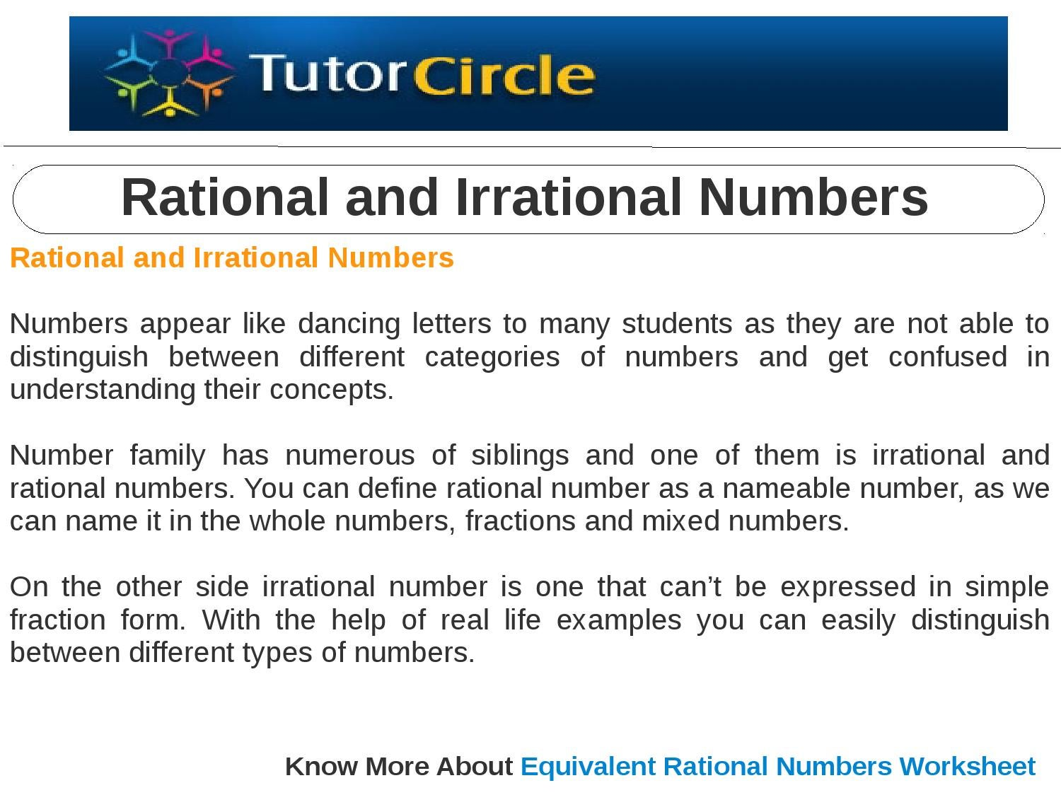 rational and irrational numbers by tutorcircle team - issuu