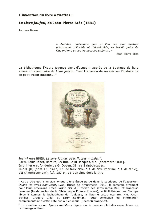 l invention du livre tirettes le livre joujou de jean pierre br s 1831 par jacques desse. Black Bedroom Furniture Sets. Home Design Ideas