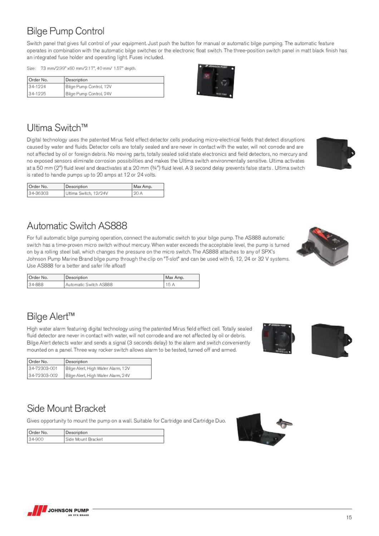 Bilge Pump Automatic Float Switch Johnson SPX AS888 6 12 24 32 Volt