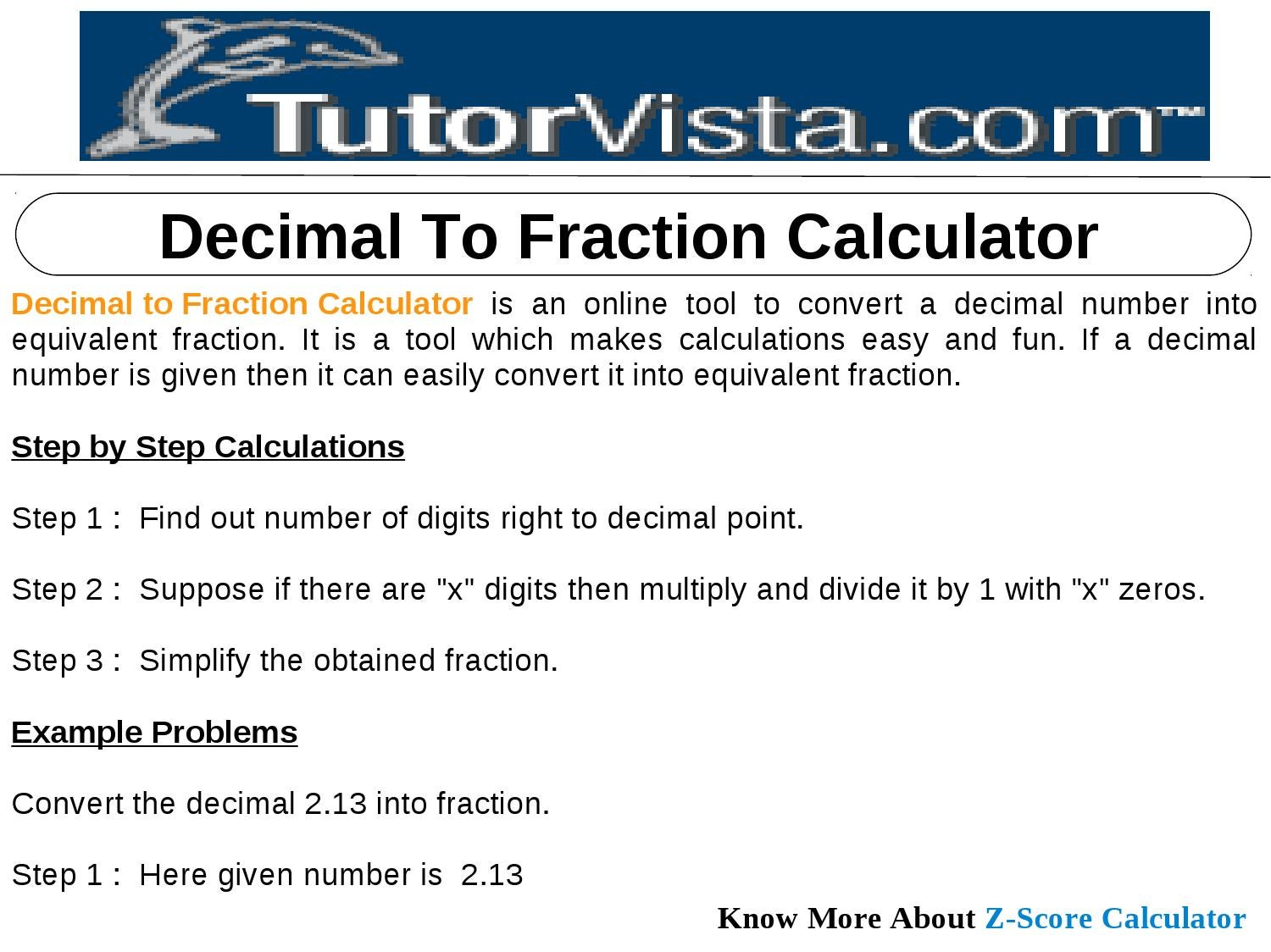 decimal to fraction calculator by tutorvista team - issuu