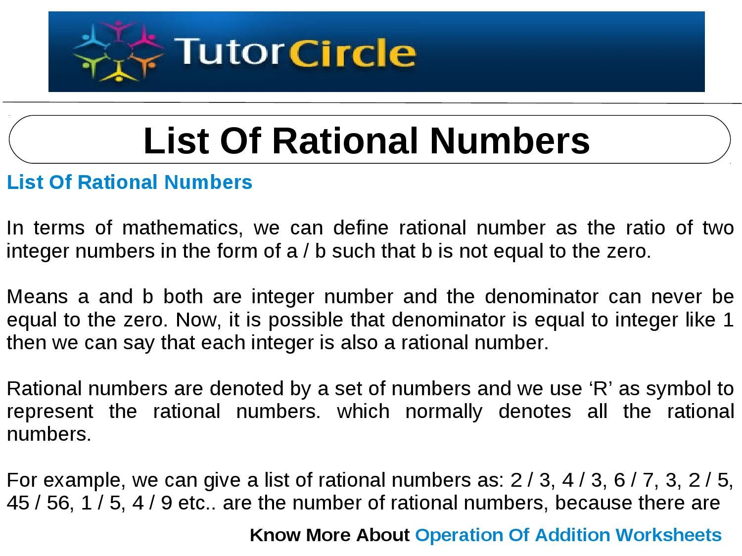 list of rational numbers by tutorcircle team issuu – Rational Number Worksheets