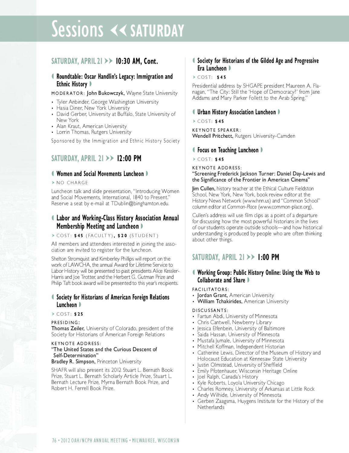 2012 OAH/NCPH Annual Meeting Program by Organization of