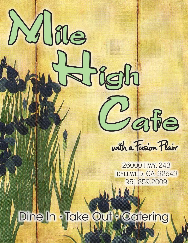 Mile High Cafe Idyllwild Menu