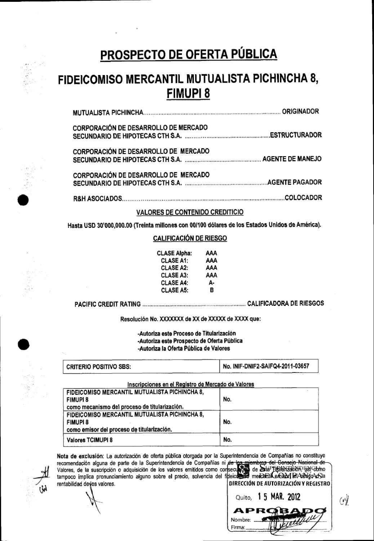 Prospecto Titularizacion FIMUPI 8 by Bolsa de Valores de Quito - issuu