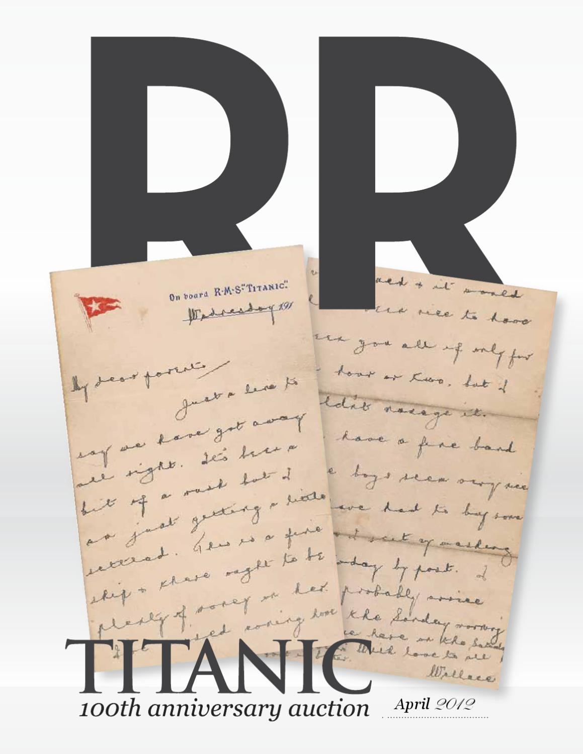 Rr Auction Titanic 100 Year Anniversary Auction By Rr Auction Issuu