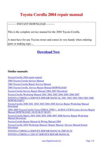 2004 corolla service manual pdf