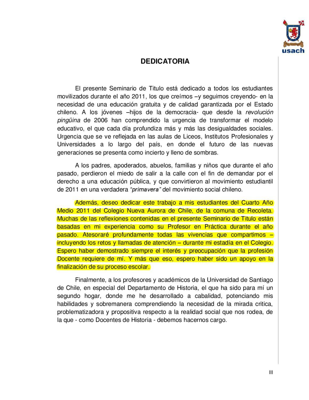 Dedicatoria Seminario De Titulo By Profe Isaac Calvo Issuu