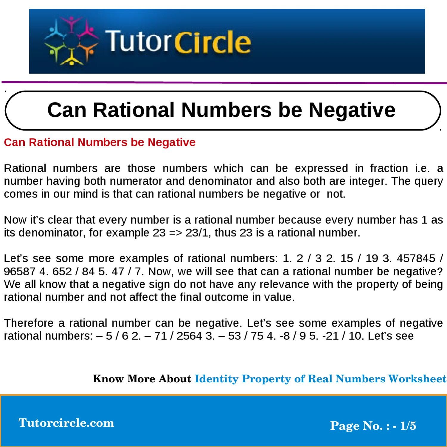 Can Rational Numbers Be Negative By Tutorcircle Team Issuu