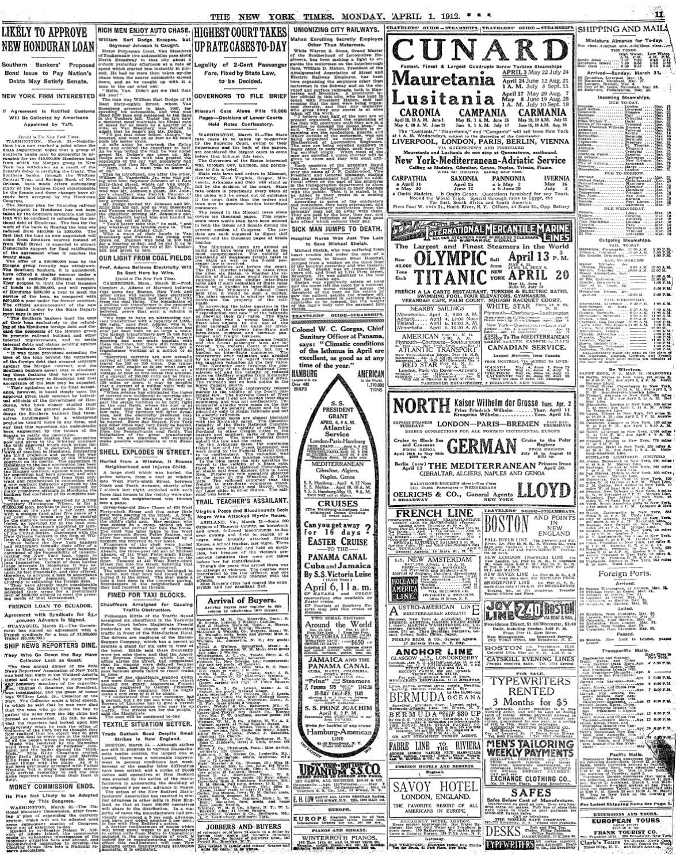 Titanic Newspaper Articles April 1- April 14, 1912 by BACM