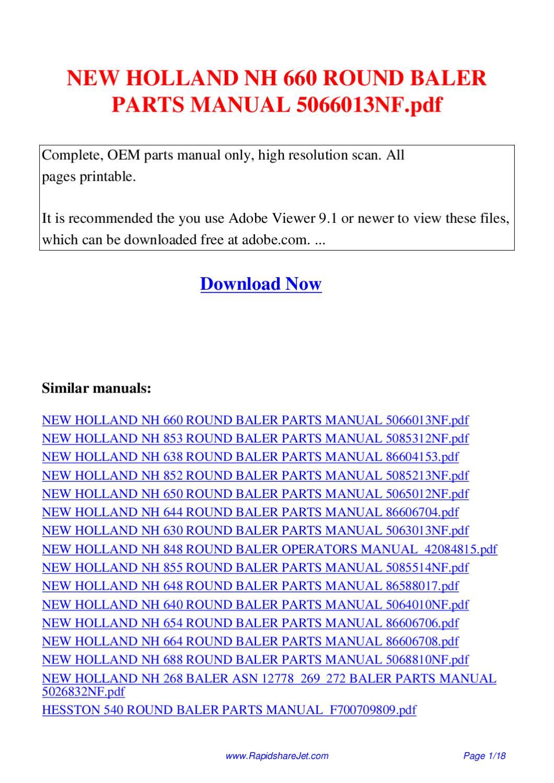 NEW HOLLAND NH 660 ROUND BALER PARTS MANUAL 5066013NF pdf by Hong