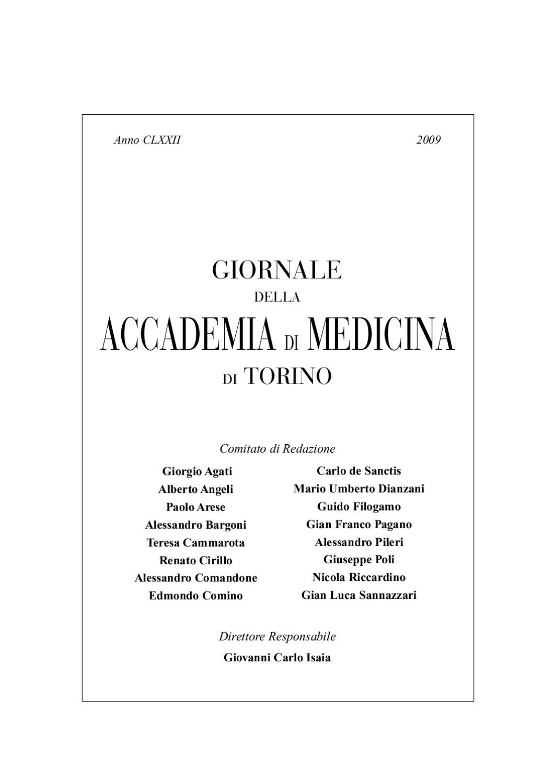 Giornale Dell Accademia Di Medicina 2009 By Accademia Di Medicina