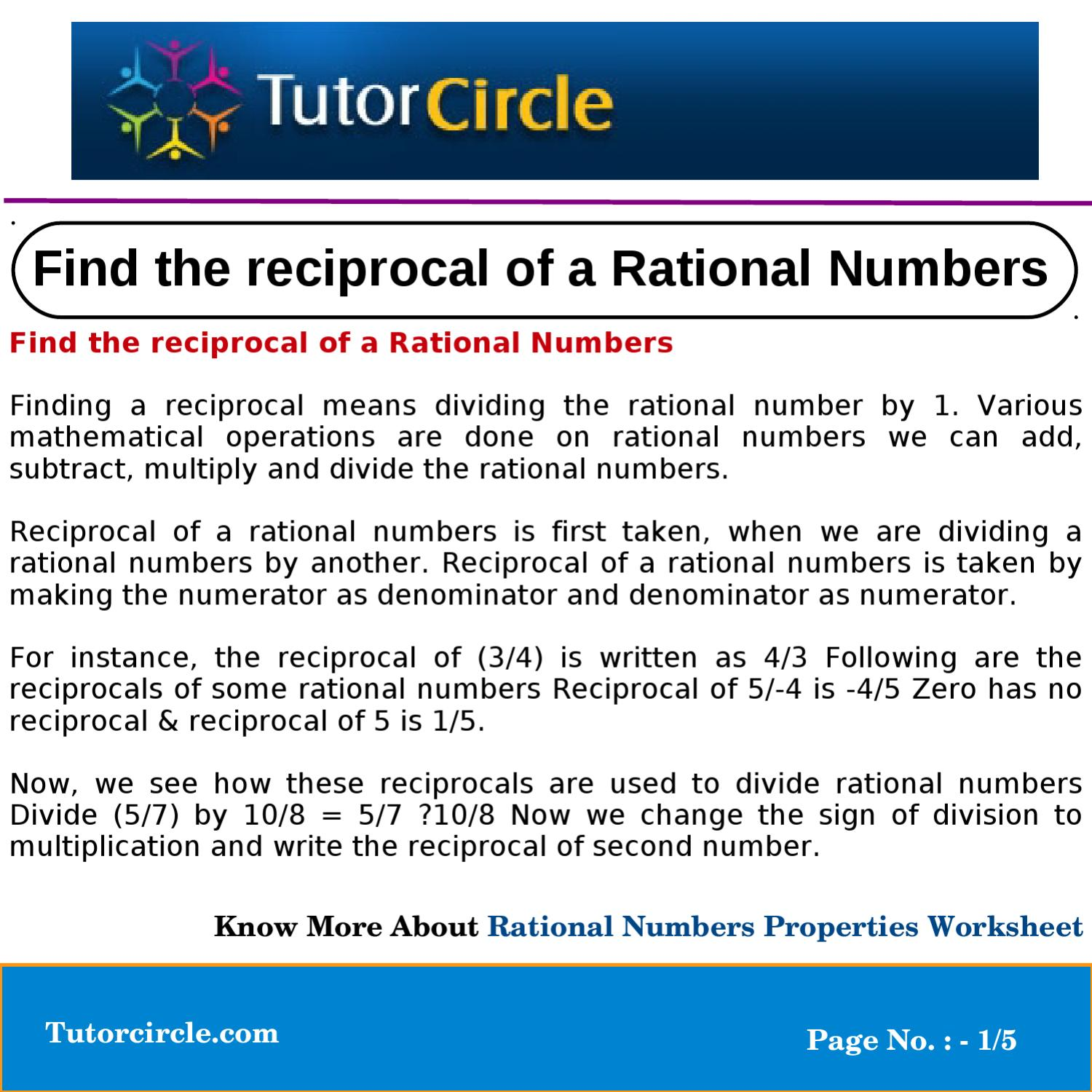 Find The Reciprocal Of A Rational Numbers By Tutorcircle Team Issuu