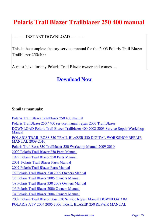 polaris trail blazer trailblazer 250 400 manual by hong lee issuu. Black Bedroom Furniture Sets. Home Design Ideas