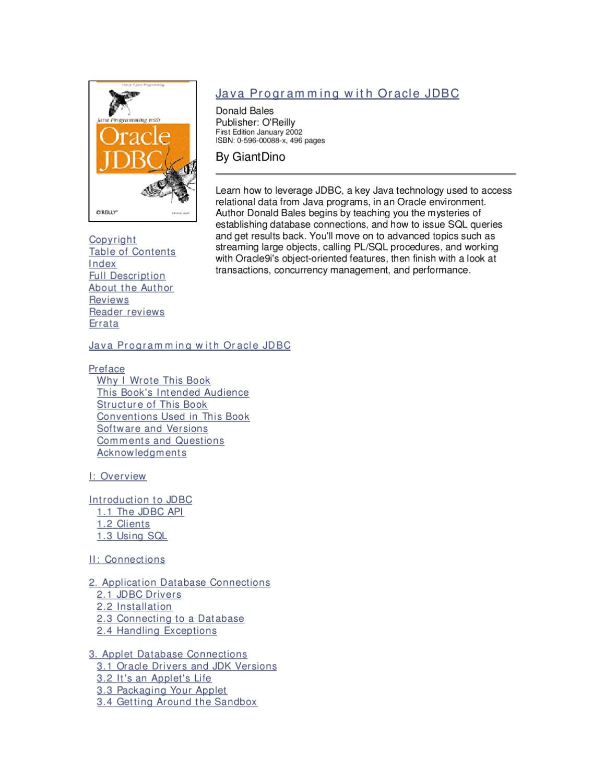 Java programming with oracle jdbc 2002 by kenny ganta issuu baditri Choice Image