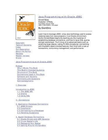 Java Programming with Oracle JDBC 2002 by kenny ganta - issuu