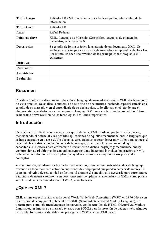 XML estandar de la descripción e intercambio. by Toni Pérez - issuu