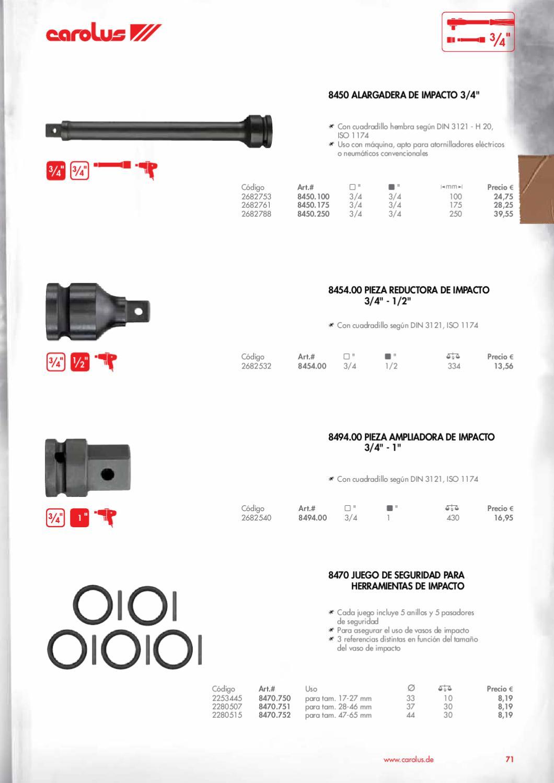 Carolus 8450.100 Alargadera de impacto 3//4 100 mm