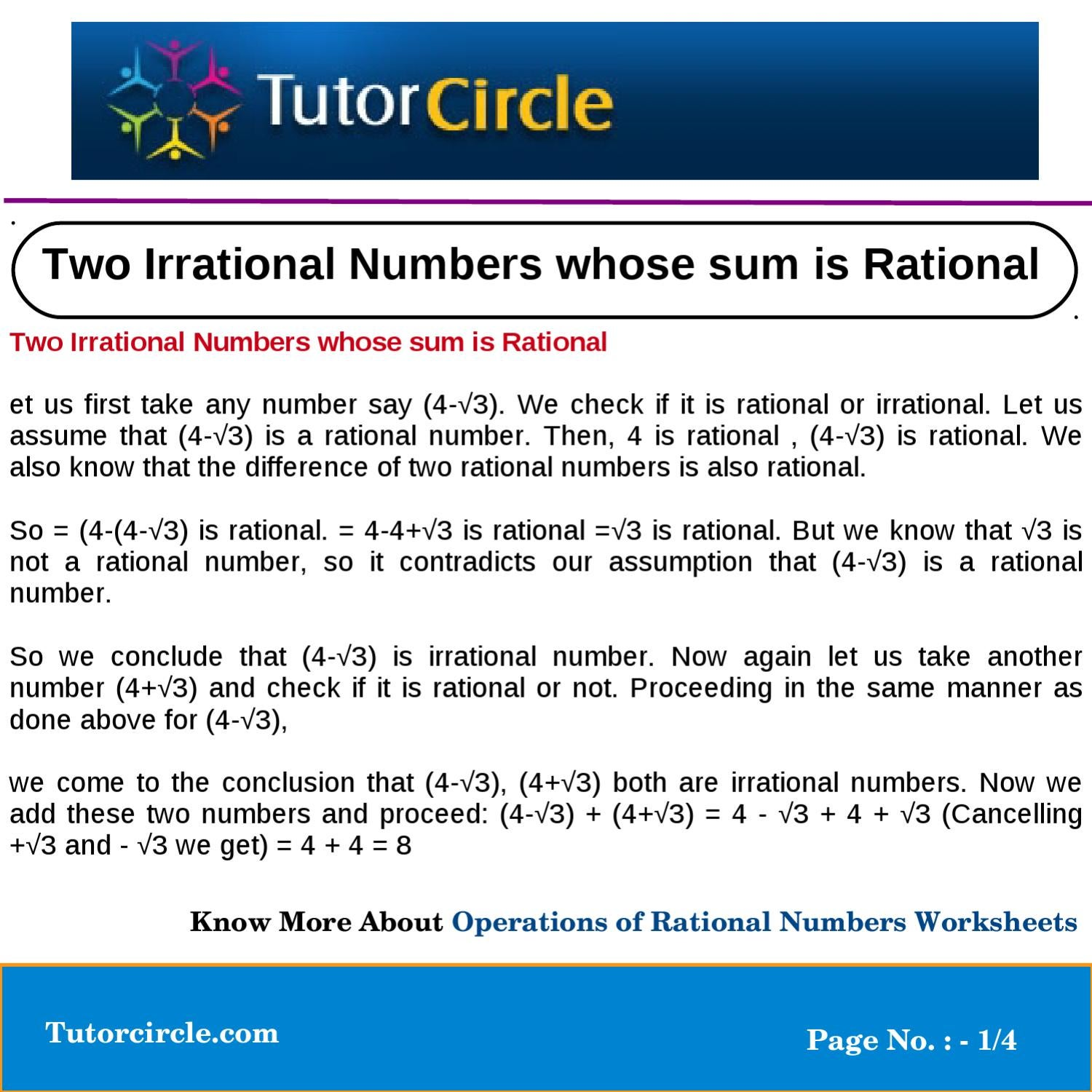 two irrational numbers whose sum is rational by tutorcircle team issuu. Black Bedroom Furniture Sets. Home Design Ideas