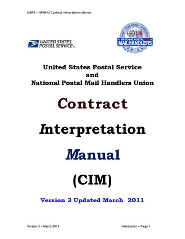 CONTRACT INTERPRETATION MANUAL (CIM) Version 3 by National