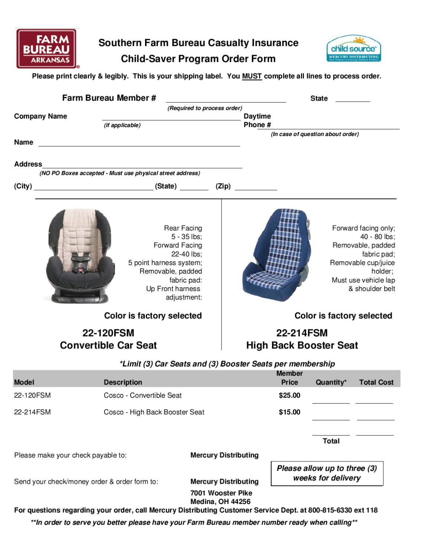 Child Car Seat 20 Order Form By Arkansas Farm Bureau