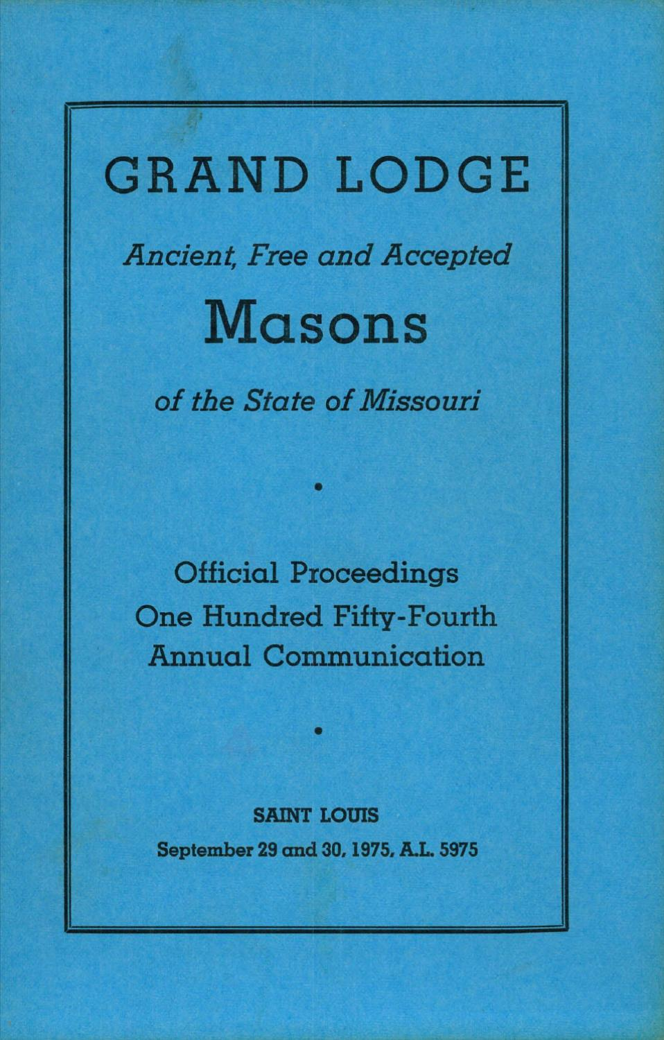 1975 Proceedings Grand Lodge Of Missouri By Missouri