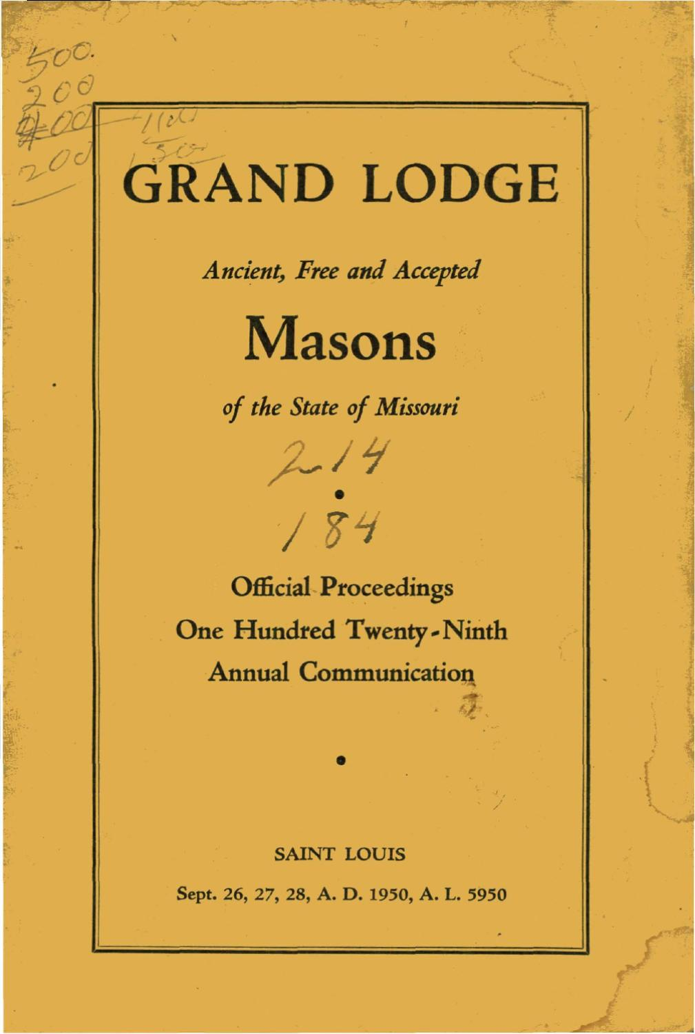 1950 Proceedings Grand Lodge Of Missouri By Missouri Freemasons