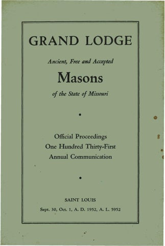 1952 Proceedings Grand Lodge Of Missouri By Missouri Freemasons