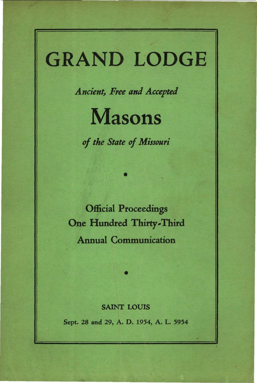 1954 Proceedings Grand Lodge Of Missouri By Missouri Freemasons