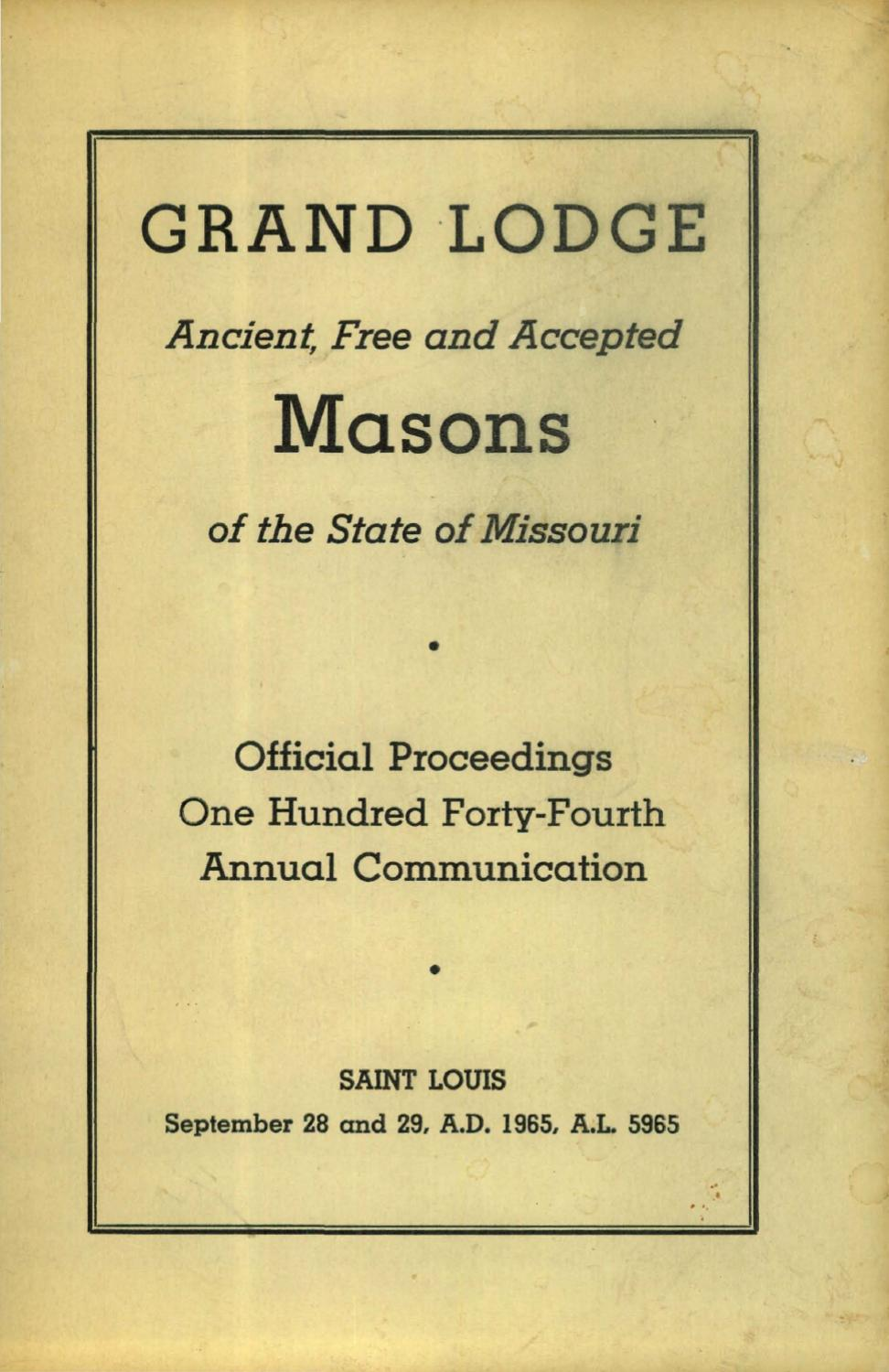 1965 Proceedings Grand Lodge Of Missouri By Missouri Freemasons