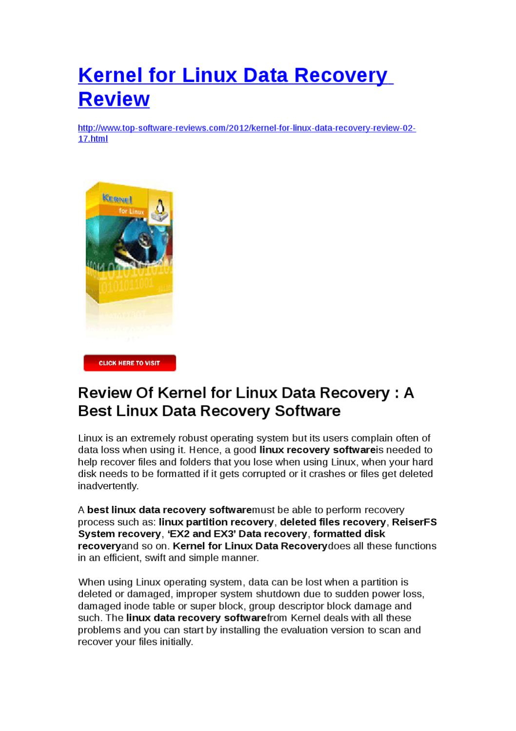 Kernel for Linux Data Recovery Review by Yongqiang Xie - issuu