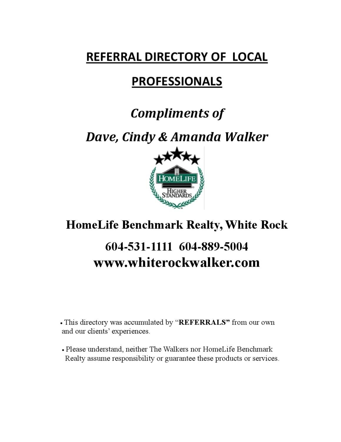 Walker Real Estate Referral Directory By Cindy
