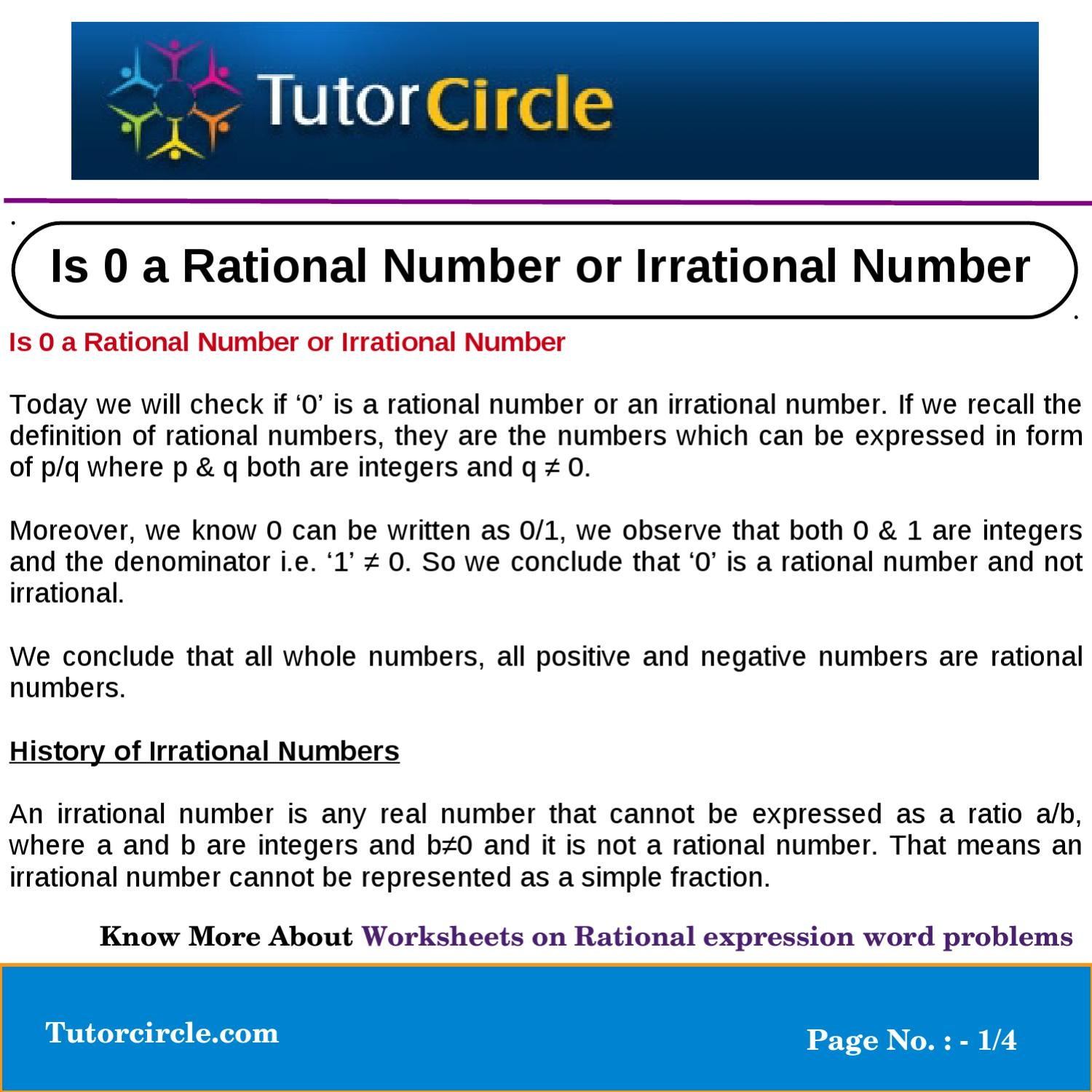 Is 0 a Rational Number or Irrational Number by tutorcircle ...
