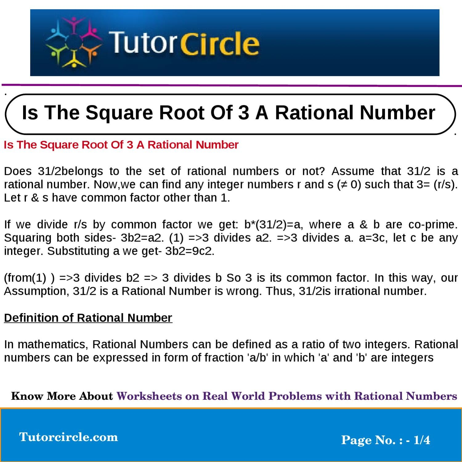 is the square root of 3 a rational number by tutorcircle team - issuu