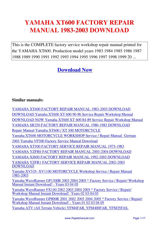 Yamaha Xt600 Factory Repair Manual 1983 2003 By Hong Lee border=