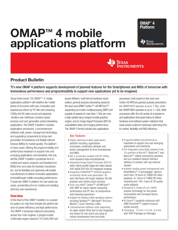 Texas Instruments OMAP 4430 processor