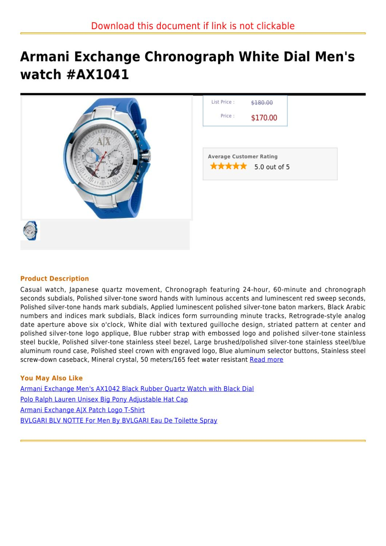 812c97559c3 Armani Exchange Chronograph White Dial Men s watch  AX1041 by claudio vinny  - issuu