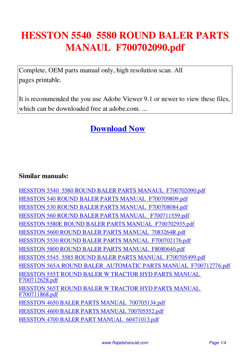 HESSTON 5540 5580 ROUND BALER PARTS MANAUL F700702090 pdf by Hong Lee -  issuu