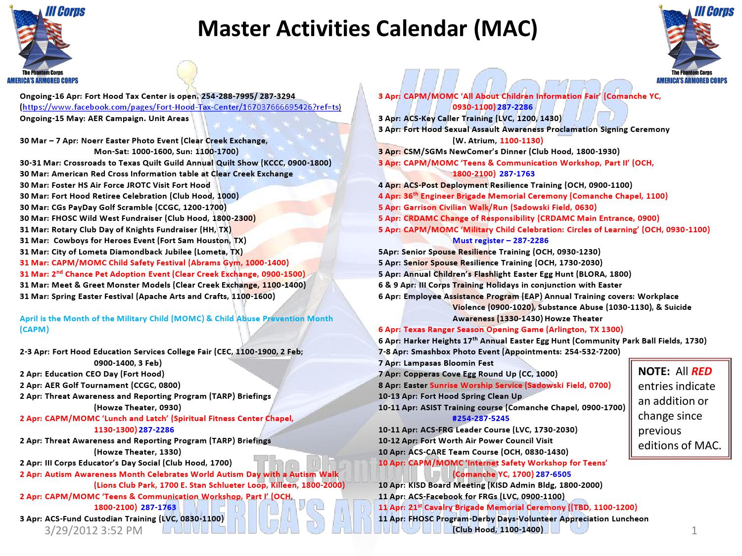 Fort Hood And Iii Corps Master Events Calendar March 2012
